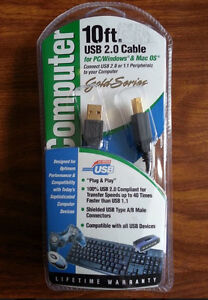 USB Cable 2.0 or 1.1 Peripherals 10 FT FOR PC & MAC NIB