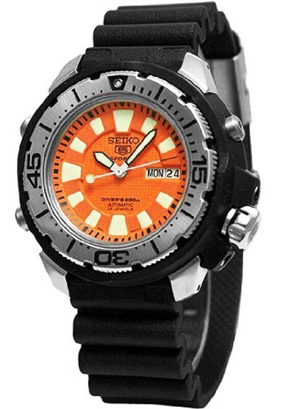 Seiko automatic diver skz249 skz249k1 mens frankenmonster - Orange dive watch ...