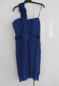 BCBG MAX AZRIA PURPLE/BLUE RUFFLE COCKTAIL DRESS - SIZE 8