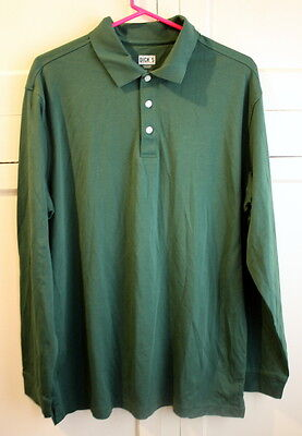 Mens L Dicks Sporting Goods Green Long Sleeve Collard Shirt