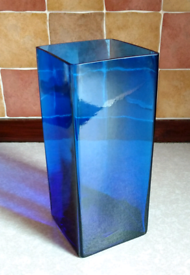 Dark cobalt blue glass decorative square vase