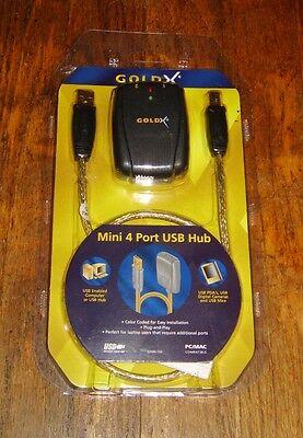 GoldX Mini 4 Port USB Hub 24 Karat -