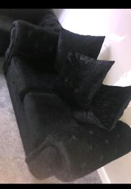 2 + 3 seater crushed velvet sofa