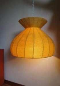 Vintage 1970's Woven YELLOW YARN Hanging Lamp
