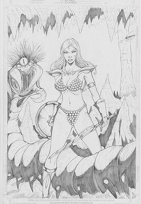 Red Sonja original art pinup by Alex Machado