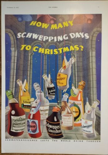 1935 Schweppes Tonic Waters Mixers Ginger Ale Beer Ad Art Christmas