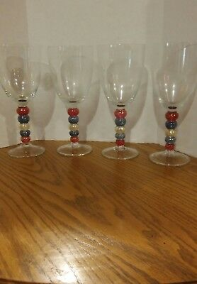"""Water / Wine Art Glass clear with colored Balls pink blue white 8.25"""" Tall"""