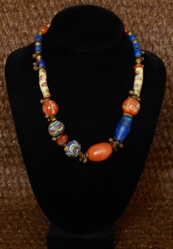Antique trade bead necklace with Ancient carnelian bead