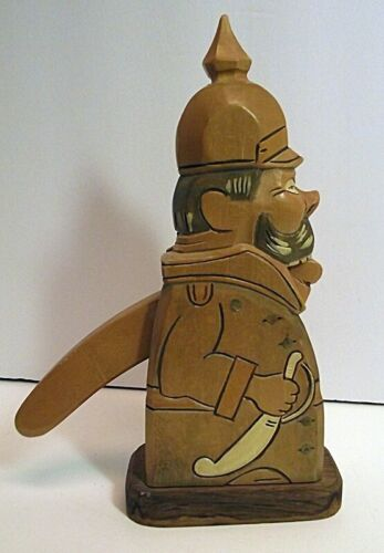 RARE Vtg Wooden Nutcracker WW2 German Soldier Poss Steinbach