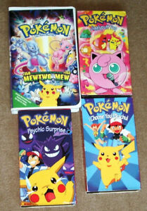 POKEMON COLLECTORS!! 4 POKEMON VHS TAPES ( ONE NEW SEALED) EXCEL