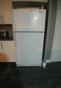 MAYTAG FRIDGE & DISHWASHER, DINING TABLE W CHAIRS AND OTTOMAN
