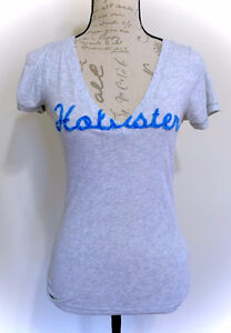 Grey Hollister V Neck T Shirt Tee Top - Size Medium M