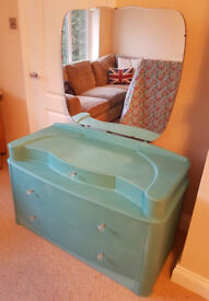Vintage/Shabby chic bow fronted dressing table