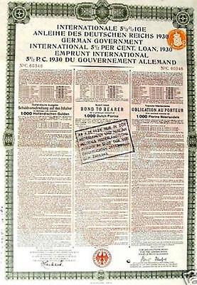 Germany External Loan 1930 Bond Holland Dutch issue 1000 florins Young