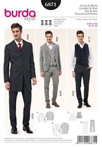 Burda Mens Sewing Pattern 6871 Suit Jackets, Waistcoat & Trousers (Burda-...
