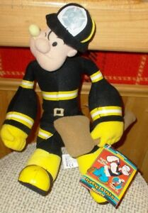"2003 KELLYTOY  POPEYE  FIREMAN  DOLL  14""  WITH TAGS"