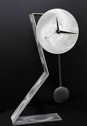 Statements2000 Modern Metal Desk Clock Pendulum Silver Time Keeper by Jon Allen