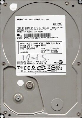 Hitachi HDT721064SLA360 P/N: 0A39990 MLC: BA3064 640GB APPLE 655-1527A for sale  Shipping to Nigeria