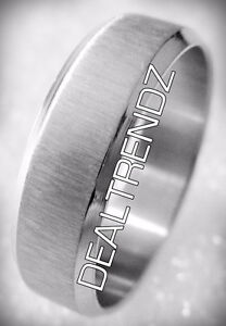 ⭆ WIDE BRUSHED 316L STAINLESS STEEL UNISEX RING NEW US 10 ✋