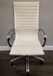 High Back Leather Office Chair, White