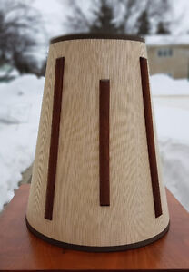 Vintage Mid Century Lamp Shade with Walnut Wood Strips/ Accents