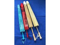 4 BAMBOO & PAPER PARASOLS /UMBRELLAS FOR WEDDING/PARTY