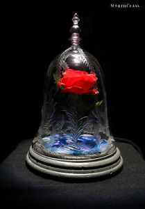 NorthClass Crystal/Glass Blue Rose Bell Jar (Beauty & The Beast)