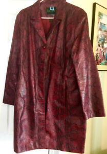 Danier Women's Red Leather Coat, size XL