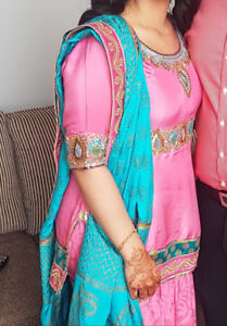 Pink sharara suit with hand painted dupatta