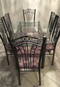 Beautiful Glass Top Dining Set - Glass & Iron table w/ 6 chairs