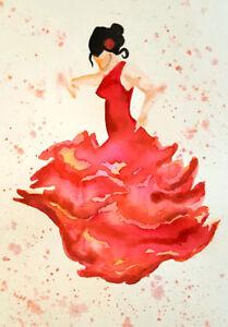 Flamenco Dancer watercolour print