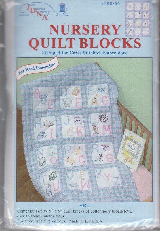 "1 Jack Dempsey ""ABC"" Stamped X stitch/Embroidery Nursery Quilt Blocks"