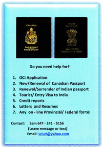 OCI, Indian Passport, Indian Visa and other on line forms