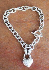 Silver Diamond Heart Link Bracelet