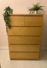Ikea Malm Oak Chest of 6 drawers DELIVERY