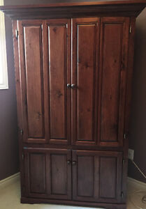 Solid pine armoire. Custom made. Shelving or TV unit.