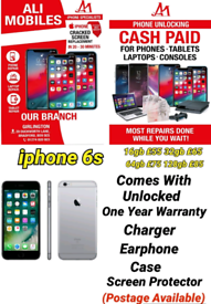 iphone 6s Comes With Unlocked One Year Warranty Charger Earphone Case
