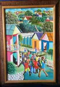 Antique oil painting in the style of New Orleans Second Line Wit