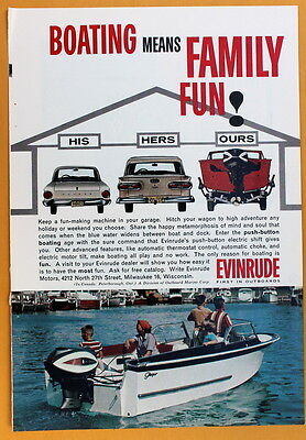 Vintage Magazine Print Ad 1962 Evinrude Outboards Boating Family Fun