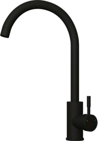 Matt Black Kitchen Mixer Tap with Swivel Spout - Swan Neck