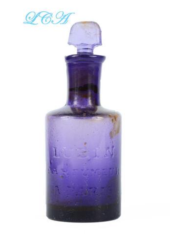 EARLY Pontiled PURPLE antique PERFUME bottle LUBIN PARFUMEUR w/ GLASS stopper