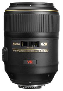 Objectif Nikon VR 105mm Macro f/2.8 + filtre Nikon 62mm neutre