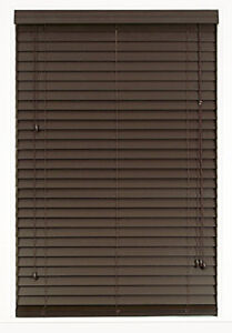2 inch brown faux wood blinds