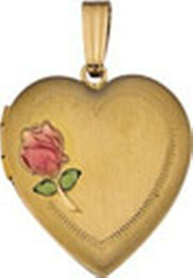 ***14K YELLOW GOLD HEART SHAPED LOCKET WITH A PINK ROSE** 21.5mm ***BRAND NEW*** 14k Gold Heart Shaped Locket