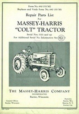 Massey Harris Colt Tractor Repair Part List Manual