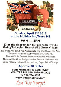 Maritime Military Collectors Show & Sale -- Truro, NS -- April 2