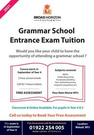 11 plus tuition - 11+ tutor Walsall Grammar School