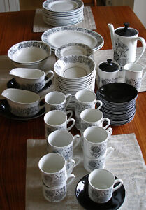 vintage modern black & white MANITOU by Grindley England dishes