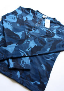 LACOSTE Blue Camo Button-Up Shirt NEW tag Men's size 4 Rare polo