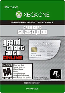 1 250 000$ Grand Theft Auto Cash XBOX ONE In-Game GTA Dollars